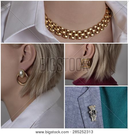 A collage consisting of 4 photos which depict jewelry that shows a woman in the form of a golden necklace, earrings and brooch poster