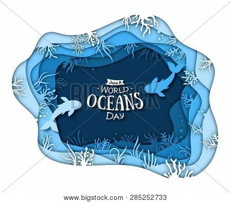Paper Art Of World Oceans Day. Global Celebration Dedicated To Help Protect, Conserve World Oceans,