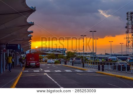 Kingston, Jamaica - July 12 2016: Sunset At The Norman Manley International Airport In Jamaica.