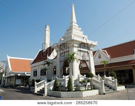 BANGKOK, THAILAND - JANUARY 23, 2019: Crematorium building at a Buddhist temple