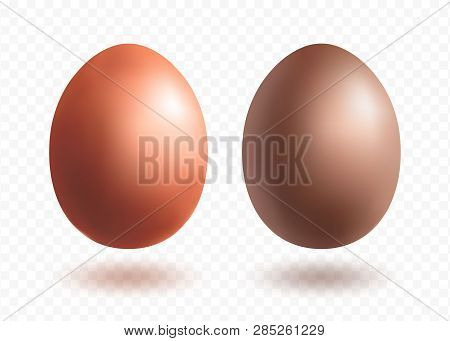 Chocolate Egg  Mini Set With Shadows Isolated On Transparent Background. Wealth And Religion Symbol.