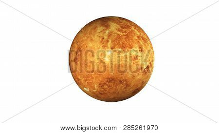 Venus Planet Of Solar System. Dead Planet In The Space Isolated On White. Science Fiction. Elements