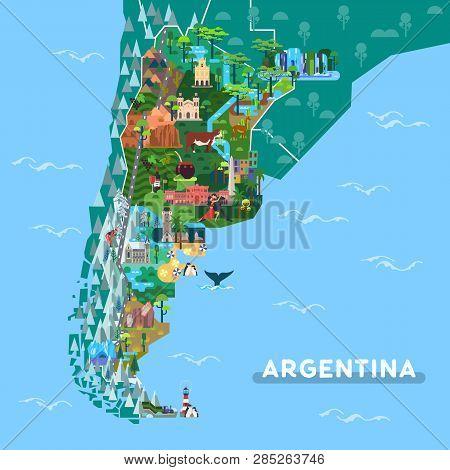 Sightseeing Places On Argentina Map. Landmarks Like Iguazu Fall And Obelisk, Ushuaia And Cordoba Cat
