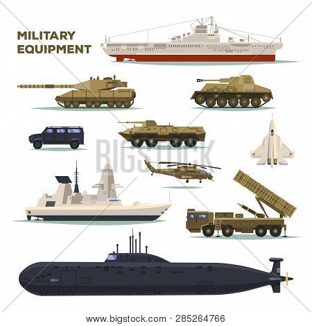 Set Of Isolated Military Or Army Icons. Nuclear Submarine And Armored Tank, Helicopter And Bomber Or
