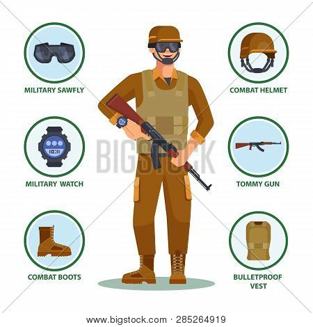 Army Or Military Cartoon Soldier With Items In Infographic. Man With Helmet And Sawfly Eyewear, Watc