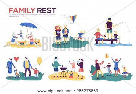 Cartoon Mother, Father And Children Sunbathing, Walking, Swimming, Fly A Kite, Fishing, Preparing Ba