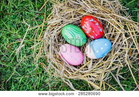 Nest Egg Colorful Decorated Festive Tradition Easter Eggs On Green Grass Background On Top View