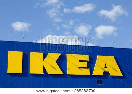 Uppsala, Sweden - July 6, 2016: Close Up Of The Exterior With Ikea Logo On The Furniture Shop Exteri