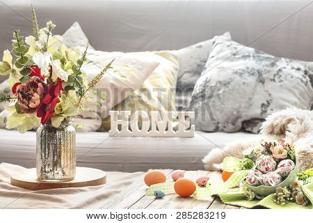 Easter Breakfast In A Homely Interior