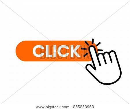 Click Here The Button With The Hand Icon. Linear Icon For Web Sites. Flat Vector Illustration Isolat