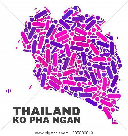 Mosaic Ko Pha Ngan Map Isolated On A White Background. Vector Geographic Abstraction In Pink And Vio