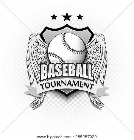 Baseball Logo Template Design. Baseball Ball With Wings. Vintage Style. Isolated On White Bubbles Ba