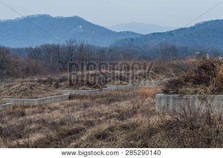 Concrete Foundation Wall Surrounded By Dry Grass And Trees In Wilderness Landscape On Winter Day.