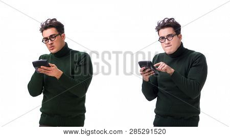 Nerd young man with calculator isolated on white