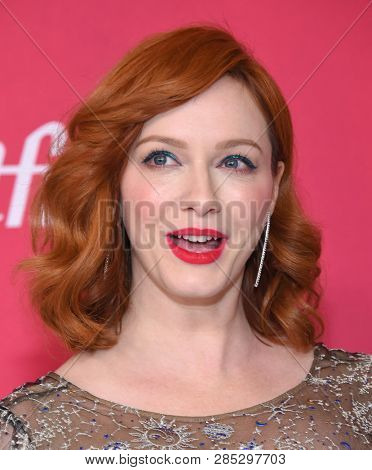 LOS ANGELES - FEB 19:  Christina Hendricks arrives for the 21st CDGA (Costume Designers Guild Awards) on February 19, 2019 in Beverly Hills, CA