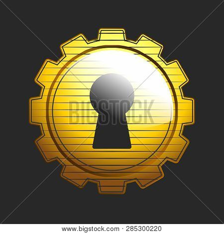 Vector Logo Emblem Of Locksmith Lock Picking, Gear With Keyhole In Gold Color
