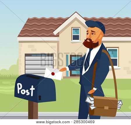 Postman in Professional Uniform Design Element. Mailman Putting Letter in Postbox. Envelope Flat Illustration. Courier with Bag Cartoon Character. Delivery Services Vector Drawing. House, Building poster