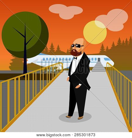 Wealthy Man in Airport Flat Vector Illustration. Billionaire Going on Holiday Vacation, Business Trip. Rich Tourist, Celebrity, VIP in Departure Lounge. Luxury Traveler in Suit, Glasses. Plane Drawing poster