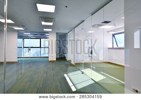 empty office interior of new corporate business modern startup