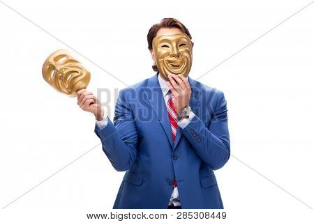 Businessman with masks isolated on white