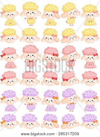 A Vector Set Of Various Cute Girly Sheep In Various Actions And Colors