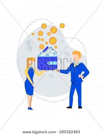 Business Man Pointing On Wallet With Bills Explaining To Young Woman Money Handling And Economy Prof