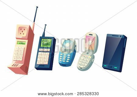 Mobile Phones Evolution Cartoon Vector Concept. Cellphones Generations From Vintage Models With Phys