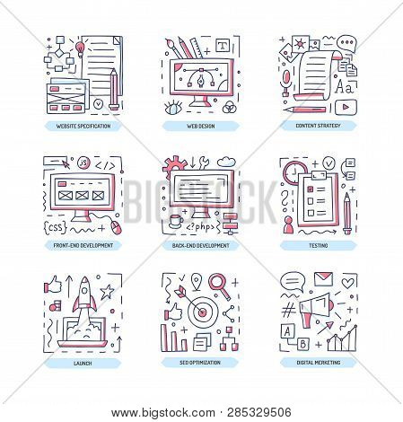 Web Development Doodle Icon Set. Website Specification, Design, Frontend And Backend, Content Strate