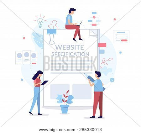 A Team Of Specialists Prepares Website Specification. Web Development Concept. Flat Vector Illustrat
