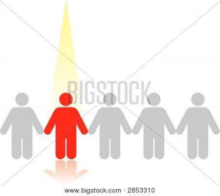 A vector image illustrating the concept of standing out from the crowd in business. Easily editable for color and can be resized without loss of quality. poster