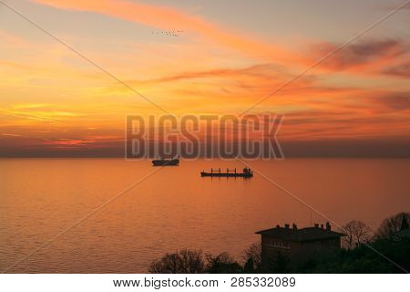 Sunset At Adriatic Sea Nature Landscape. Red Clouds And Sea Landscape. Sea Nature In Sunset. Nature