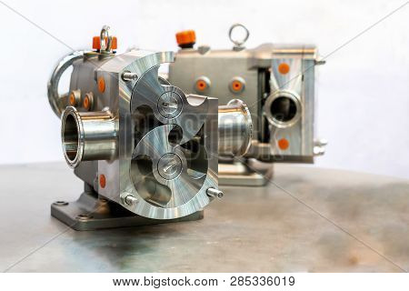 Close Up Cross Section Show Detail Inside Of High Technology And Quality Rotary Or Lobe Gear Vacuum