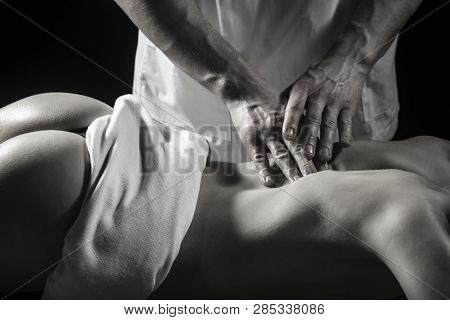 Woman Massage, Massaging. Therapy, Body Care. Spa Body, Health, Relaxation Concept, Spa Center, Reco