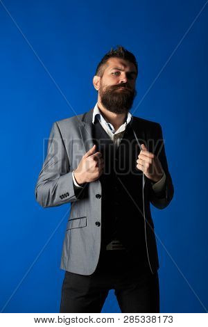 Man Suit. Modern Businessman. Male In Suits. Handsome Bearded Businessman In Classic Suit. Stylish M