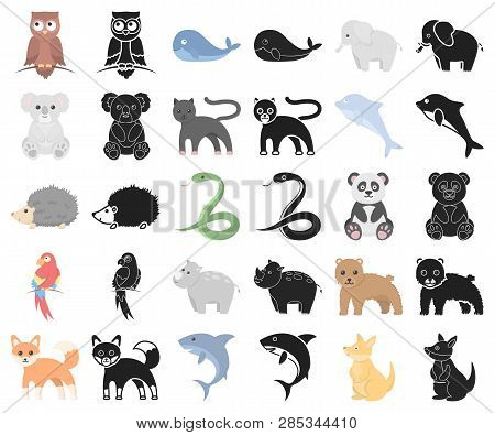 An Unrealistic Animal Cartoon, Black Icons In Set Collection For Design. Toy Animals Vector Symbol S