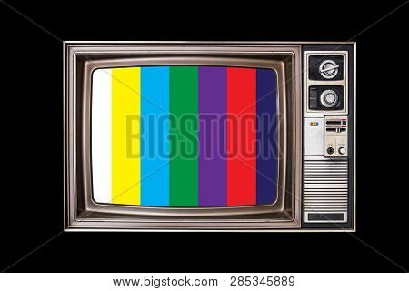 Classic Vintage Retro Style Old Television With Ntsc Or Pal Tv Pattern Signal For Test Purposes On B