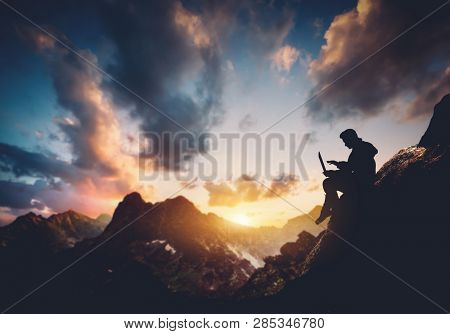 Man with laptop sitting in the mountains. Freelancer work in nature. 3D illustration.