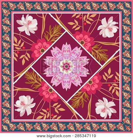 Beautiful Square Patchwork Pattern With Flowers, Mandala And Paisley Frame In Vector. Country Style.