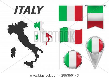 Italy. Collection Of Symbols In Colors National Flag On Various Objects Isolated On White Background