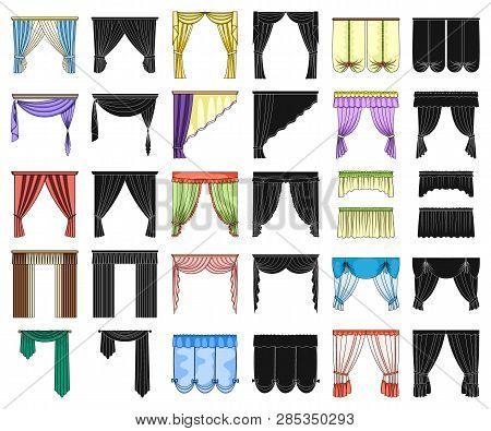 Different Kinds Of Curtains Cartoon, Black Icons In Set Collection For Design. Curtains And Lambrequ