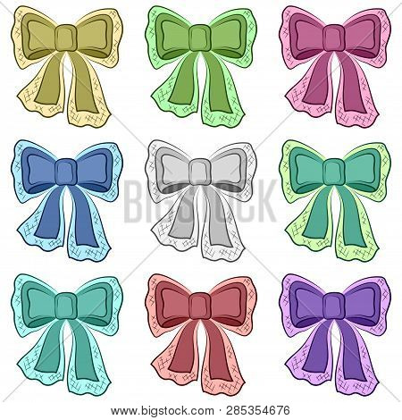 Set Of Colorful Bows, Decorative Design Elements Isolated On White Background. Vector