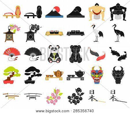 Country Japan Cartoon, Black Icons In Set Collection For Design.japan And Landmark Vector Symbol Sto