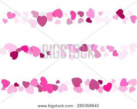 Crimson Hearts Confetti Love Symbols Vector Background. Glorious Falling Hearts Scatter Illustration
