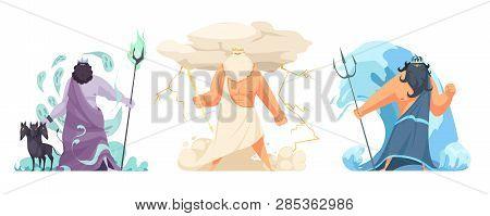 Three Powerful Ancient Greek Brothers Gods Horizontal Set With Hades Zeus And Poseidon Cartoon Isola