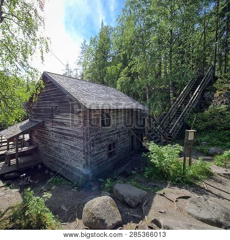 Old Watermill And The Fast-moving Myllykoski Rapids At The Oulanka National Park In Kuusamo, Finland