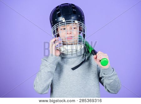 Baseball Training Concept. Boy In Helmet Hold Baseball Bat. Sport And Hobby. Care About Safety. Teen