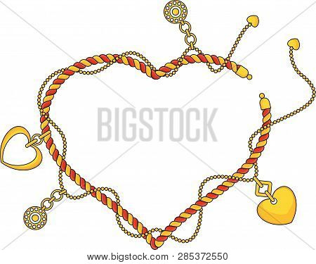 Heart Shape Frame As Trendy Braselet With Chains, Pendants, Straps And Ropes