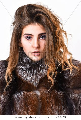 Winter Hair Care Tips You Should Follow. Hair Care Concept. Girl Fur Coat Posing With Hairstyle On W