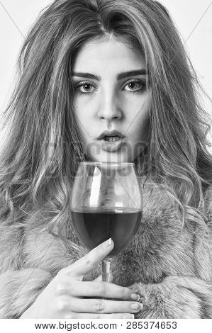 Reasons To Drink Red Wine In Wintertime. Girl Fashion Makeup Wear Fur Coat Hold Wine Glass. Woman Dr
