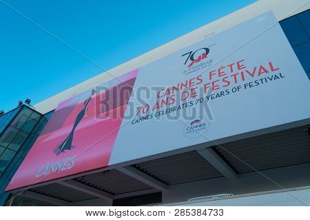 Cannes, France - October 26, 2017: Banner Of The Famous Grand Auditorium Louis Lumiere During The 70